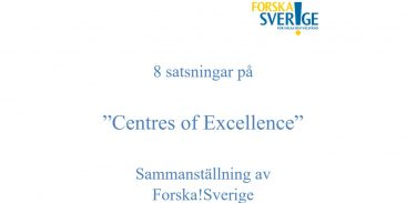 """8 satsningar på """"Centres of Excellence"""""""