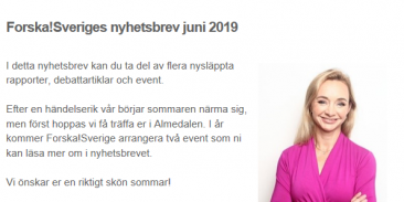 Välkomna att ta del av Forska!Sveriges nyhetsbrev